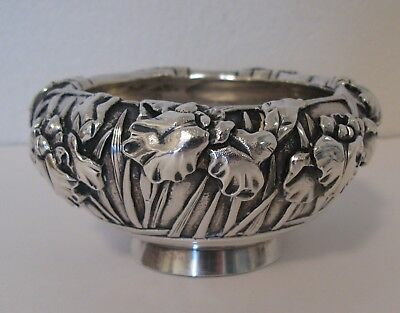 Antique Ornate Japanese Sterling Silver Bowl Signed Marked High Relief Meiji