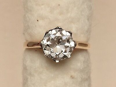 REDUCED Antique Victorian 18kt Gold Old European Cut Paste Engagement Ring