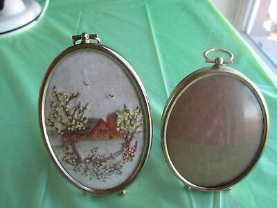 Pair Vintage Oval Metal Small Picture Frame Bubble Convex Glass Ball Feet