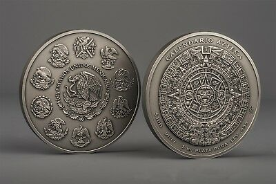 Antique Aztec Calendar 1 Kilo kg .999 fine silver 2017 FIRST Year Release