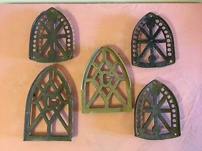 5 Vintage Smart's Cast Iron Trivets for Sad Irons - Larger and Smaller Sizes