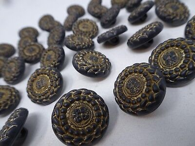 Vtg Geometric Ornate Round Antique Gold Black Shank Buttons Lot of 6 B130-10