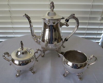 Gorgeous 3 piece Silver Plated Tea/Coffee Set - Unmarked...