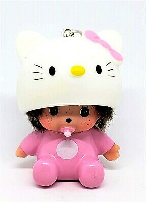 "Monchichi Hello Kitty Keychain Children Pink Cute Girl Binky Pacifier 2.5""H USA"