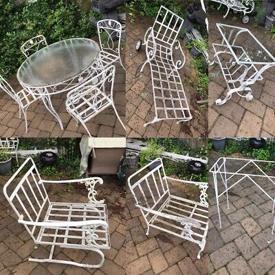11 Piece Outdoor Table Chairs Vintage Steel Patio Furniture