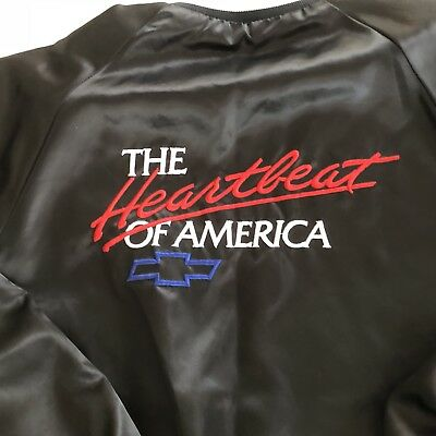 CHEVY Vintage Jacket Snap Button Down Youth M HEARTBEAT OF AMERICA Black