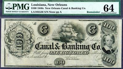 1840's $100 Obsolete Currency ** New Orleans Canal And Banking Co. ** PMG 64