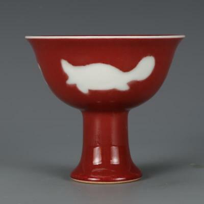Chinese Old Marked Sacrificial Red Three Fish Pattern Porcelain Highfoot Cup