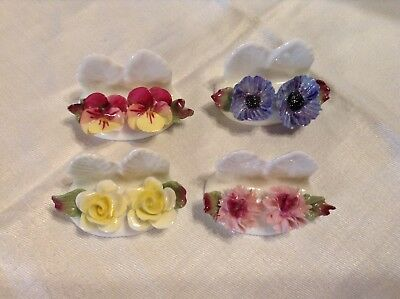 Set Of 4 Vintage Hand Painted Aynsley Bone China Floral Place Card Holders