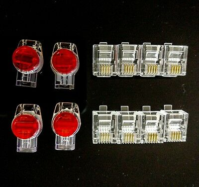 12 x RJ11 Plugs 6P4C Modular + 4 x Three-Wire Joiners Anti rust & moistrure