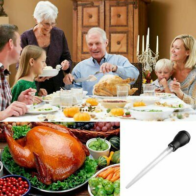 Turkey Chicken Poultry Baster BBQ Cooking Tube Pump With Cleaning Meat 30ml EU