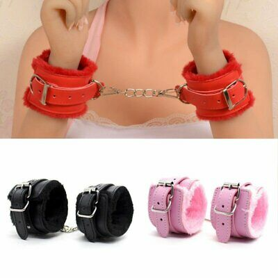 Handcuffs Up Leather Furry Sex Slave Hand Ring Ankle Cuffs Restraint Toy EU