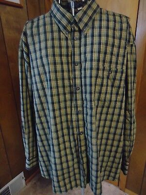 7632b9e9 MENS XXL ENRO Green/Gold/Black/White Plaid LS Shirt - $19.95 | PicClick