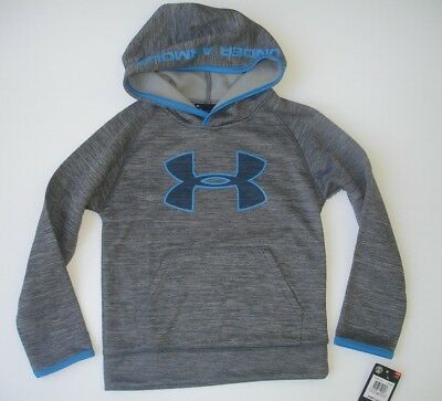 NWT Boy 6 - Under Armour Hoodie - Graphite - Gray heather and Blue