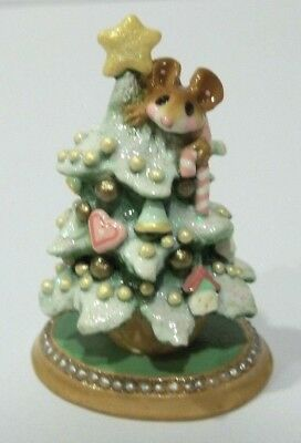 """Wee Forest Folk """"TREE ALONE"""" M-240a Scamper the Mouse in Pink Signed AP w/Box"""