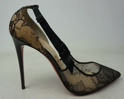 new arrival 7d61b 42b0e CHRISTIAN LOUBOUTIN HOT Jeanbi 100 Black Lace Mesh Heels Pumps Women's Size  40.5