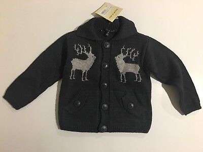 NWT Marcel et Leon Youth Toddler 2 Reindeer Made In France Cardigan Sweater