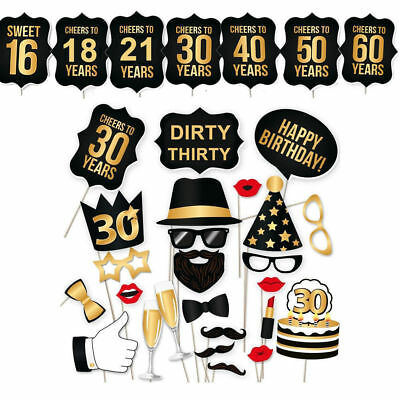 16/18/21st/30/40/50/60th 28pc Birthday Party Photo Booth Props Party Favor Decor