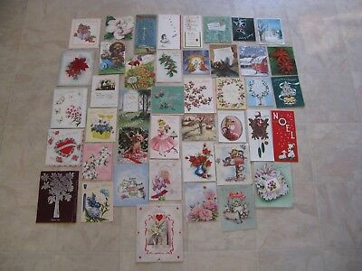 Lot of Vintage Used CHRISTMAS, VALANTINE, & more Greeting Cards~1940's Artwork