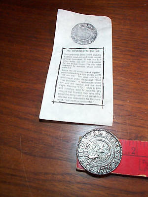 1776 Continental colonial Dollar coin Repro W/ Paperwork