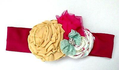 """NEW- Persnickety Wildflowers April Soft Headband,Crystals, Lace, Small 16""""(2-5T)"""