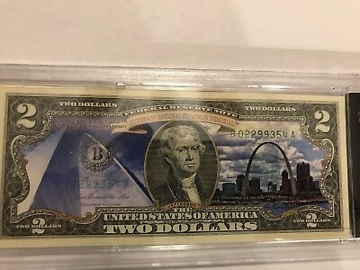 Jefferson National Expansion Memorial Note Colorized Enhanced $2 Bill