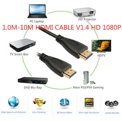 1.0M-10M High speed HDMI cable 3D HDTV 1080P OD 4.2mm Black Gold