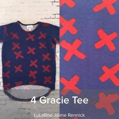 LuLaRoe Gracie Size 4 navy and red pattern NWT