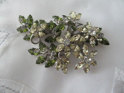 Rare! Jewelcrest By Simpson  Green & Lemon  Stones  Leaf Spray  Brooch