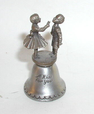 """Hershey's Chocolate  """"A Kiss For You"""" Pewter Bell Miniature w/Two Children ©FORT"""