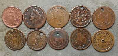 10 Different Civil War Patriotic Tokens Used - Flags Cannon Anti-Slavery