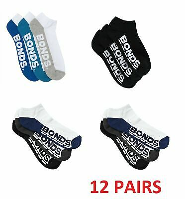 BONDS 12 PAIRS LOW CUT MENS SOCKS Sports Logo Sock Black Pack *CLEARANCE SALE*