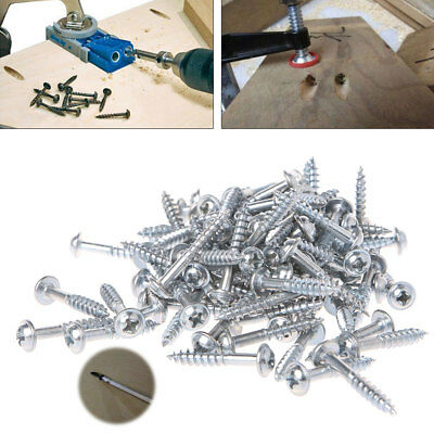 100Pcs M4-25 High Strength Oblique Hole Self-tapping Screw For Pocket Hole Jig