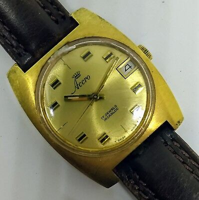 Vintage ACCRO Incabloc 17 Jewels Swiss Made Goldtone Watch w/Date, RUNS