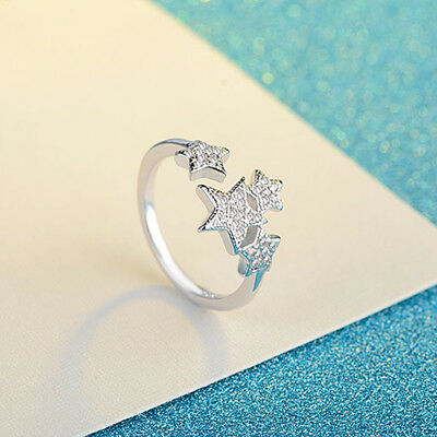 Silver Color Five-pointed Star Opening Rhinestones Ring Women Wedding Rings