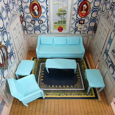 Vtg 50s Dollhouse MidCentury Modern Living Room Furniture Couch Sofa Plastic MPC