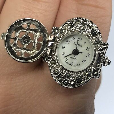 Pierre Nicol Ring Watch Marcasite Silver Tone Adjustable Vintage New Battery