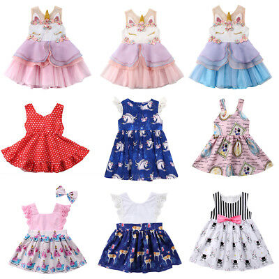Kid Baby Girls Cartoon Unicorn Summer Floral Party Pageant Tutu Dress Clothes