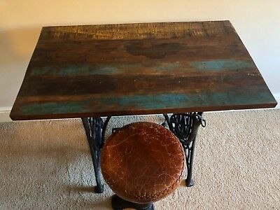 vintage industrial desk/table and stool