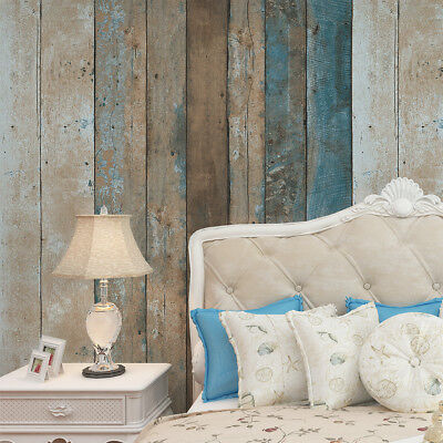 Vinyl Reclaimed Wood Plank Wallpaper Wood Textured Turquoise Blue/Sand/Brown
