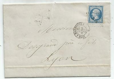 N° 14 Losange Ml2° Ambulant Lyon A Marseille 2C 25 Avril 1862 Lettre