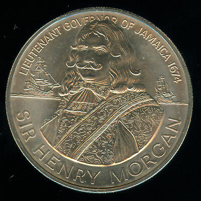 Large 1974 Jamaica  Sir Henry Morgan 10 Dollars