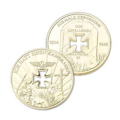 Gold Plated Coin Niemals Vergessen Nazi Germany Iron Brand new 1PCS S3T1Y