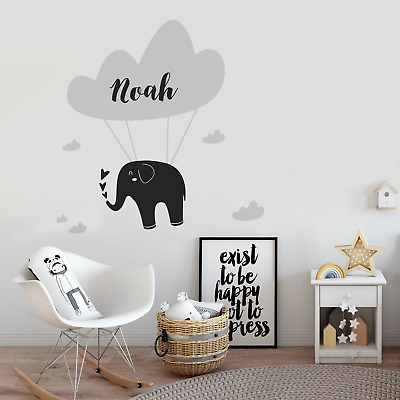 elephant floating cloud custom wall decal sticker children bedroom