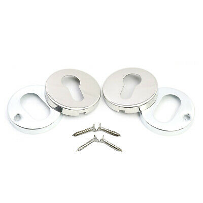 Polished Chrome Escutcheon Plates for Euro Cylinder Profile Key Hole Cover 50mm