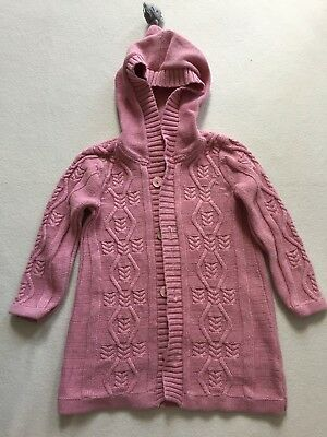 Purebaby Girl's Pink Knit Long Cardigan with Hood Size 2 (Hoodie)