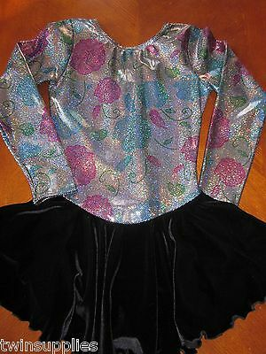 Avenues Adult Long Sleeve Silver Holographic Floral Figure Skating Dress Skirt