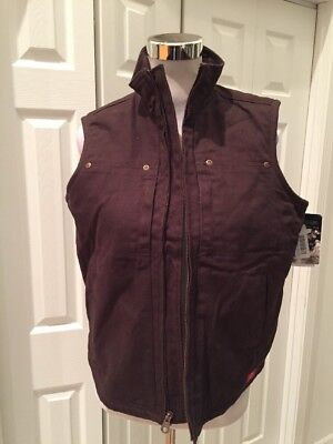 NWT Dickies Brown Sanded Duck Vest Classic Fit Sherpa Lining Medium
