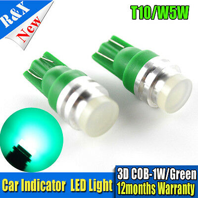 10pcs White T10 W5W LED 3D 1W Car Wedge Light Side Number Plate Lamp Bulb DC12V