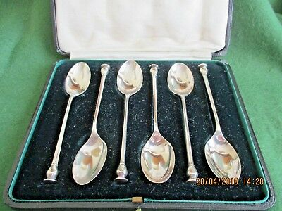 6 Mappin & Webb Seal End Coffee /Tea Spoons Original Box HM Sheffield 1922